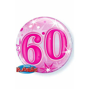 60th Pink Starburst Sparkle Single Bubble Balloon