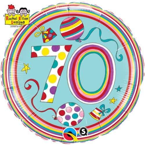 70th Polka Dots And Stripes Foil Balloon