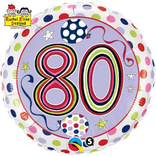 80th Polka Dots And Stripes Foil Balloon