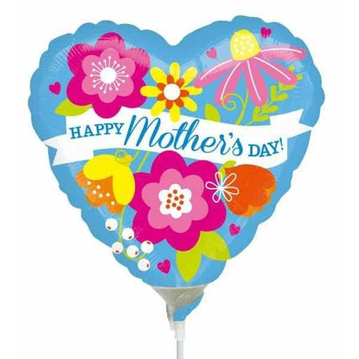 9 Inch Happy Mothers Day Blue Air Fill Balloon