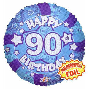 90th Birthday Blue Holographic Balloon