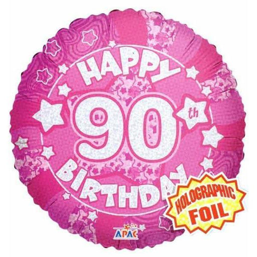 90th Birthday Pink Holographic Balloon