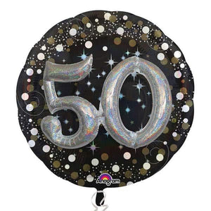 Gold And Black Sparkling 50 Multi Balloons