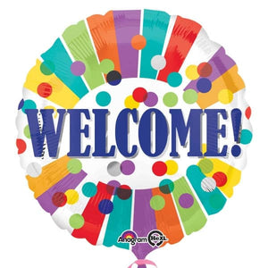 Welcome Dots And Stripes Foil Balloons