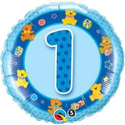 Age 1 Blue Teddies Foil Balloon