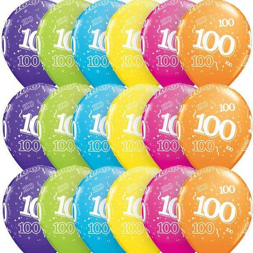 Age 100 Tropical Assorted Latex Balloons 6ct