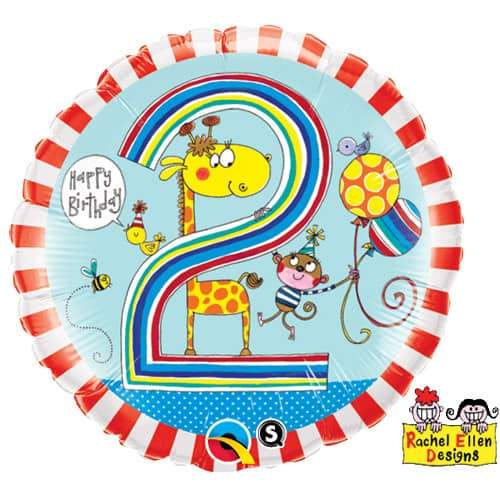Age 2 Giraffe Stripes Foil Balloon