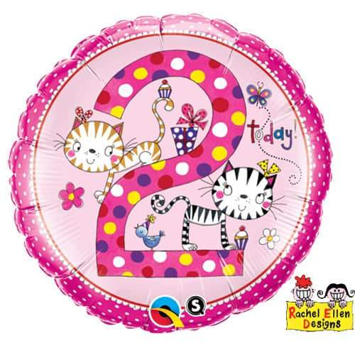 Age 2 Kittens Polka Dots Foil Balloon