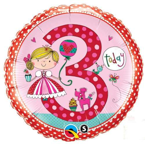 Age 3 Princess Polka Dots Foil Balloon