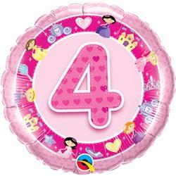 Age 4 Pink Princess Foil Balloon