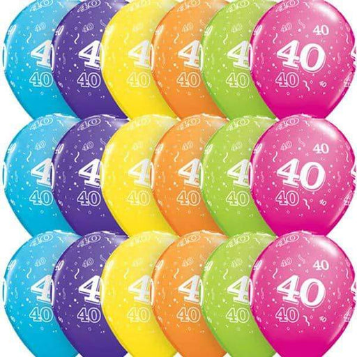 Age 40 Tropical Assorted Latex Balloons 6ct