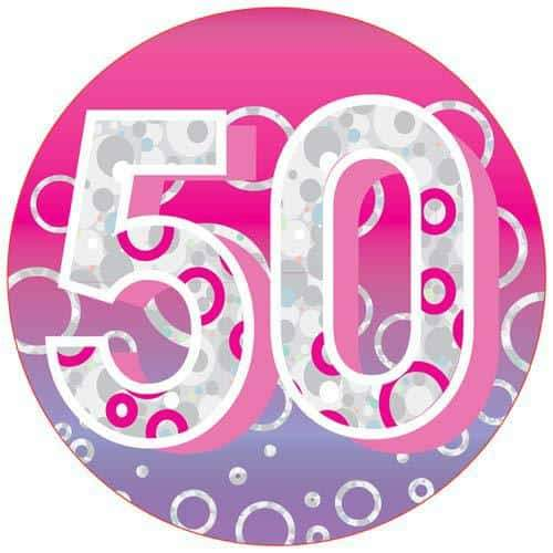 Age 50 Pink Party Badge