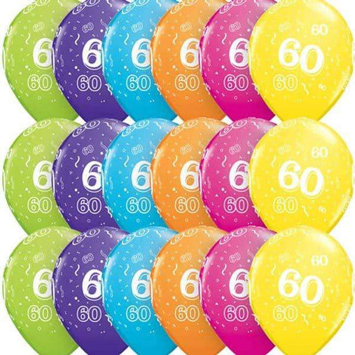 Age 60 Tropical Assorted Latex Balloons 6ct