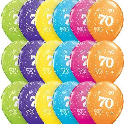 Age 70 Tropical Assorted Latex Balloons 6ct