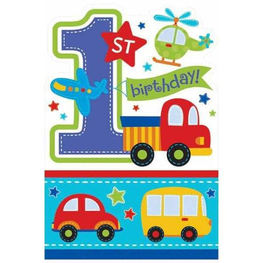 All Aboard 1st Birthday Boy Party Invitations 8pk