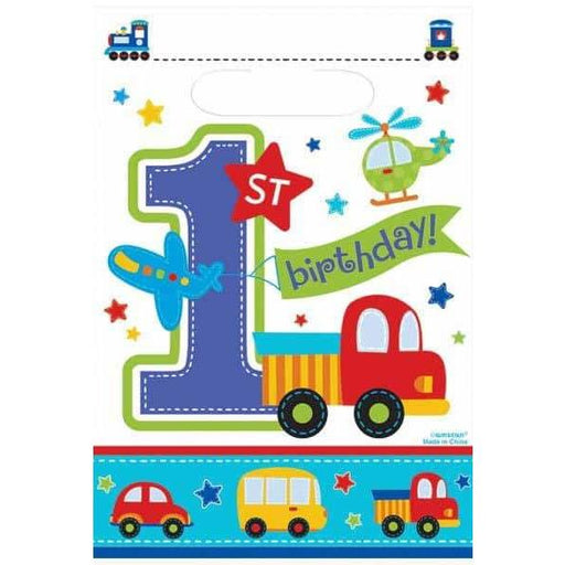 All Aboard 1st Birthday Boy Party Loots Bags 8pk