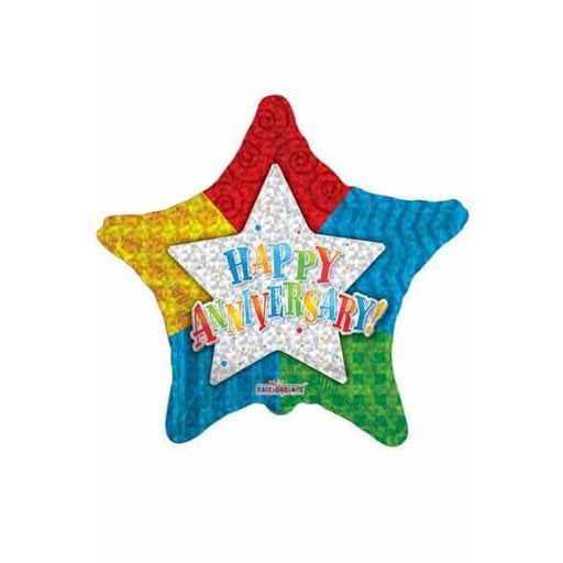 Anniversary Patterned Star Foil Balloon