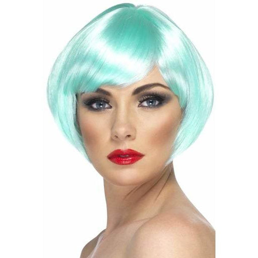 Aqua Short Female Babe Bob Wigs With Fringe