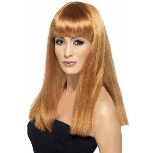 Auburn Long Straight Wigs With Fringe