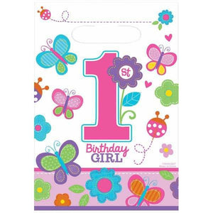 Sweet 1st Birthday Girl Party Loot Bags 8pk - mypartymonsterstore