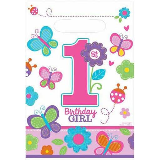 Sweet 1st Birthday Girl Party Loot Bags 8pk