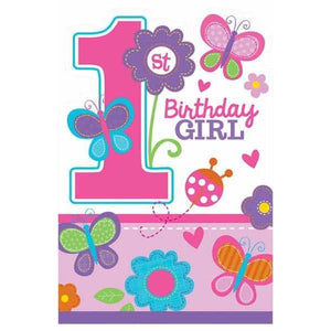 Sweet 1st Birthday Girl Party Invitations 8pk