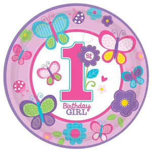 Sweet 1st Birthday Girl Paper Plates 8pk