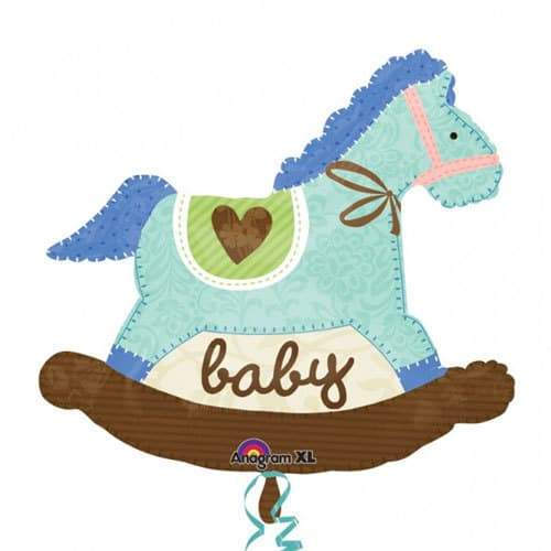 Baby Blue Rocking Horse Supershape Balloon
