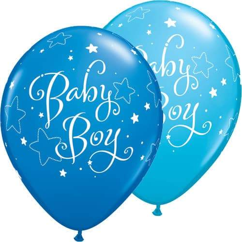 Baby Boy Stars Assorted Latex Balloons x25