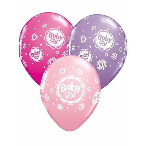 Baby Girl Dots Latex Balloons 6ct