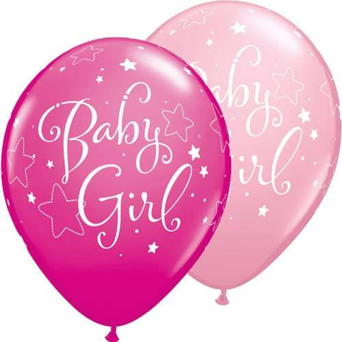 Baby Girl Stars Assorted Latex Balloons x25