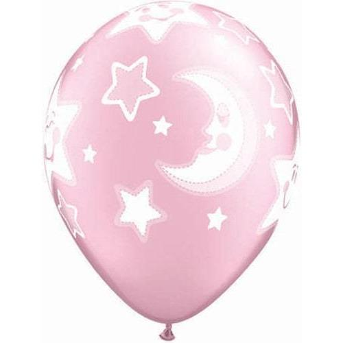 Baby Moon And Stars Pearl Pink Latex Balloons x25