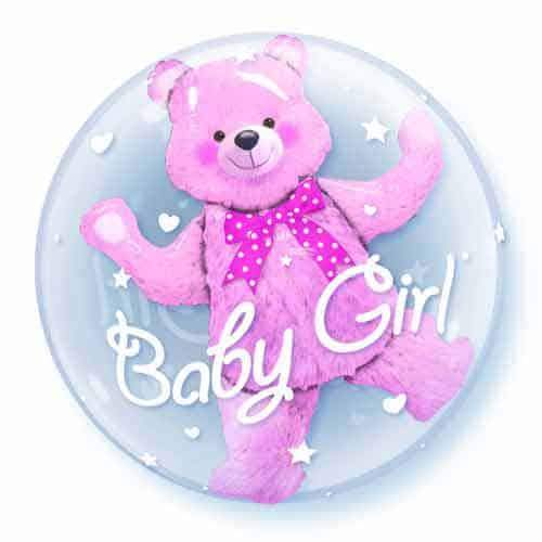 Baby Pink Bear Double Bubble Balloon
