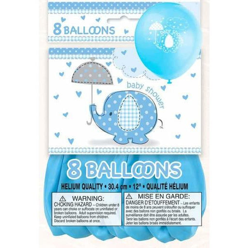 Baby Shower Blue Umbrella Elephants Latex Balloons 8ct