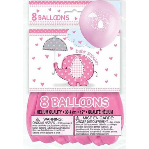 Baby Shower Pink Umbrella Elephants Latex Balloons 8ct