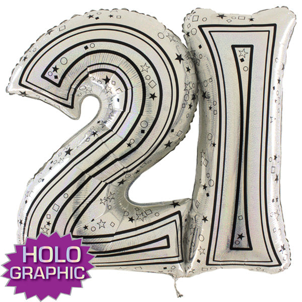 Silver 21 Jointed Number Shape Balloons