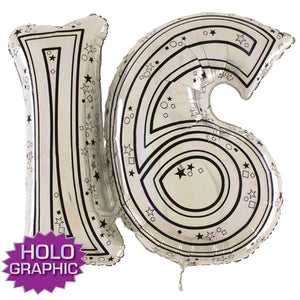 Silver 16 Jointed Number Shape Balloons - mypartymonsterstore