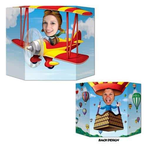 Biplane And Hot Air Balloon Double Sided Photo Prop