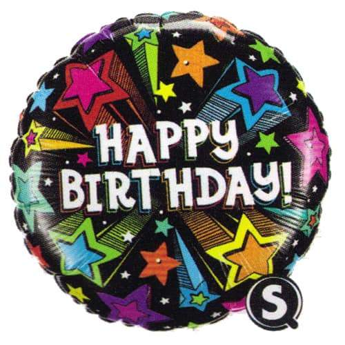 Birthday Colourful Shooting Stars Foil Balloon