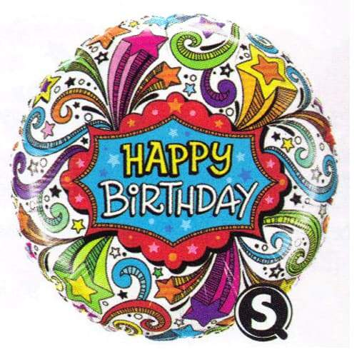Birthday Groovy Shooting Stars Foil Balloon