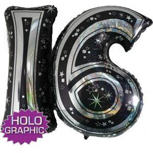 Black 16 Jointed Number Shape Balloons