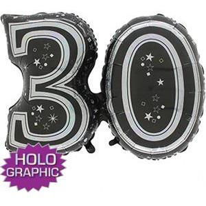 Black 30 Jointed Number Shape Balloons