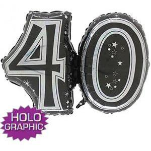 Black 40 Jointed Number Shape Balloons