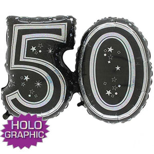 Black 50 Jointed Number Shape Balloons