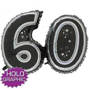 Black 60 Jointed Number Shape Balloons