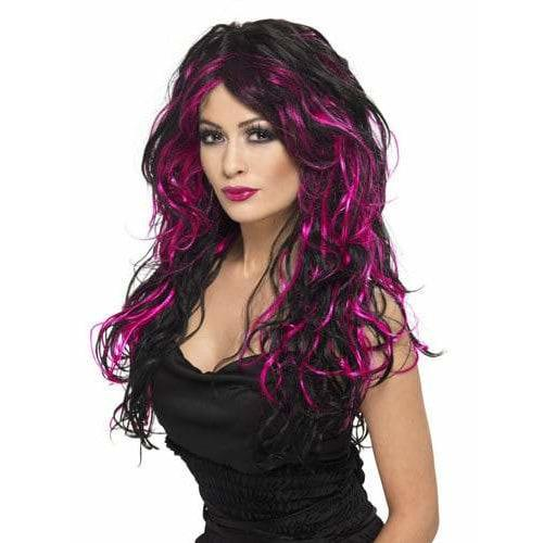Black And Pink Long Streaked Wigs