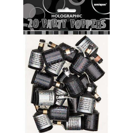 Black And Silver Holographic Party Poppers 60ct