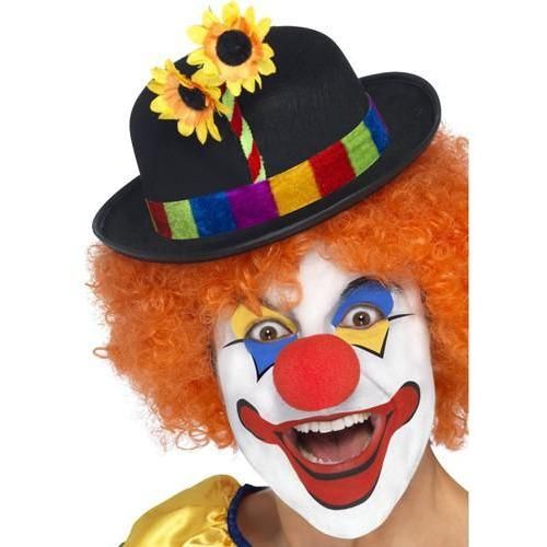 Black Clown Bowler Hat With Flowers
