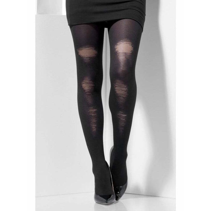 Black Distressed Opaque Tights
