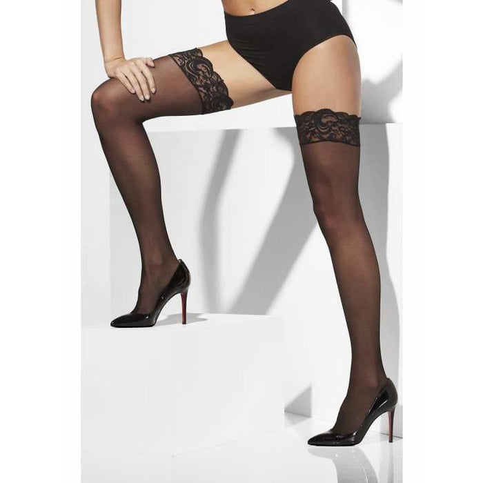 Black Lace Top Sheer Hold Ups